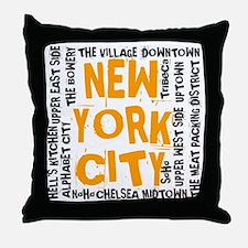 NYC_neighborhoods(on-white)2 Throw Pillow