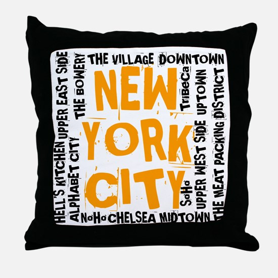NYC_neighborhoods(on-white)2 Throw Pillow