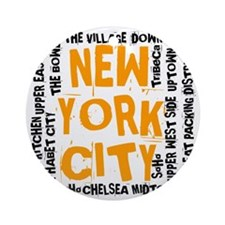 NYC_neighborhoods(on-white)2 Round Ornament