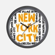 NYC_neighborhoods(on-white)2 Wall Clock