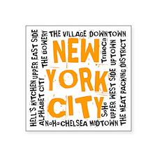 "NYC_neighborhoods(on-white) Square Sticker 3"" x 3"""