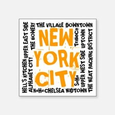 "NYC_neighborhoods(on-white) Square Sticker 3"" x 3"""