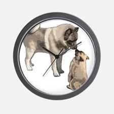 elkie adult and puppy5 Wall Clock