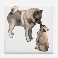 elkie adult and puppy5 Tile Coaster