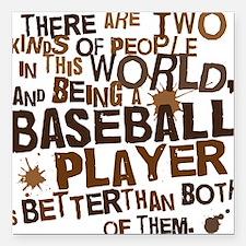 """baseballplayerbrown Square Car Magnet 3"""" x 3"""""""