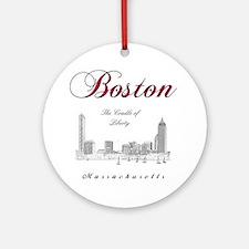 Boston_Wmn_plusv_front_Skyline_Blac Round Ornament
