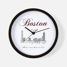 Boston_Wmn_plusv_front_Skyline_BlackRed Wall Clock