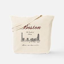 Boston_Wmn_plusv_front_Skyline_BlackRed Tote Bag