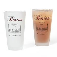 Boston_Wmn_plusv_front_Skyline_Blac Drinking Glass
