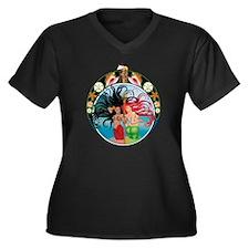 MarinaScarle Women's Plus Size Dark V-Neck T-Shirt