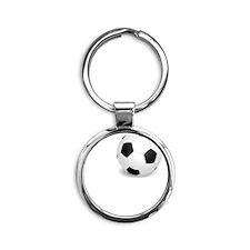 Go Hard Soccer White Round Keychain