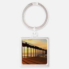 Scripps-Pier-Sunset1 Square Keychain