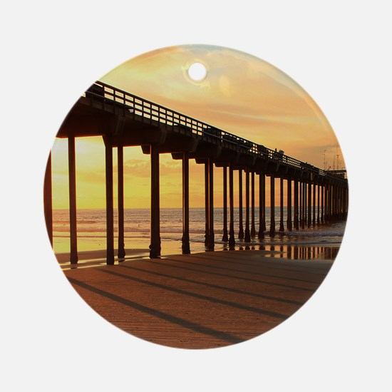 Scripps-Pier-Sunset1 Round Ornament