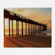 Scripps-Pier-Sunset1 Throw Blanket