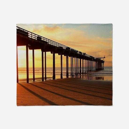 Scripps-Pier-Sunset1 Throw Blanket
