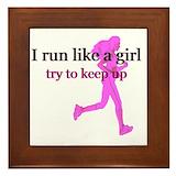 Run like girl Framed Tiles