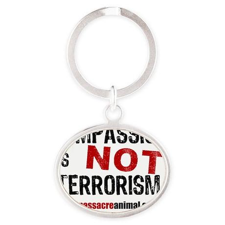 compassion-terrorisme-pins-white-01 Oval Keychain