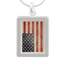iPad Faded USA Silver Portrait Necklace