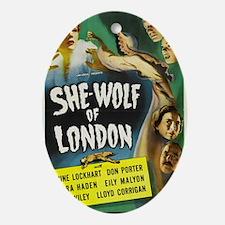 shewolflondon300dpi BIG Oval Ornament