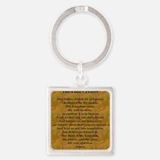 Lords Prayer_Gold frame Square Keychain