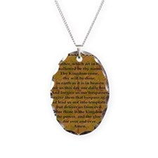 Lords Prayer_Gold frame Necklace Oval Charm