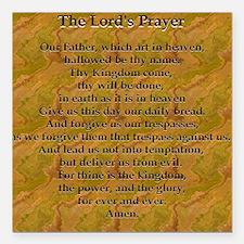"Lords Prayer_Gold frame Square Car Magnet 3"" x 3"""