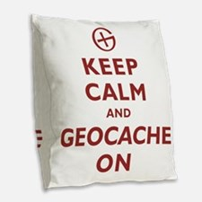 Keep Calm and Geocache On Burlap Throw Pillow