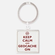 Keep Calm and Geocache On Square Keychain