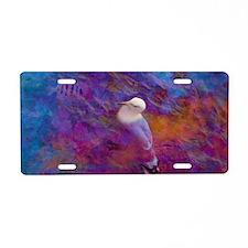 portable_oiseau_blanc_bleu_ Aluminum License Plate