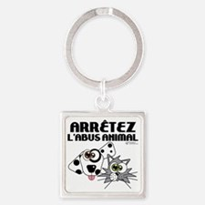 stop-animal-abuse-fr-01 Square Keychain