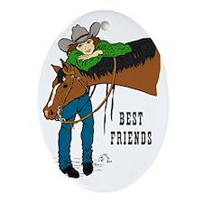 Western Best Friends Oval Ornament