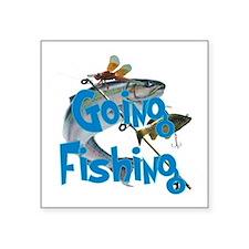"going fishing Square Sticker 3"" x 3"""