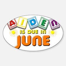 Aiden is Due in June Sticker (Oval)
