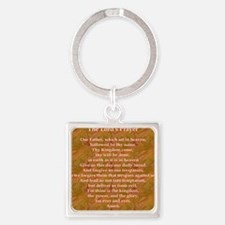 Lords Prayer_red on white Square Keychain