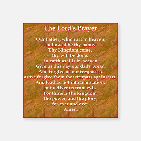 "Lords Prayer_red on white Square Sticker 3"" x 3"""