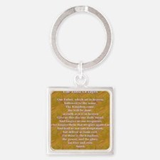 Lords Prayer_blue on white Square Keychain