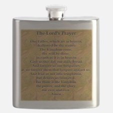 Lords Prayer_white on black Flask