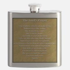 Lords Prayer_black on white Flask