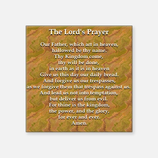"Lords Prayer_white on white Square Sticker 3"" x 3"""