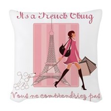 French Thing dark Woven Throw Pillow