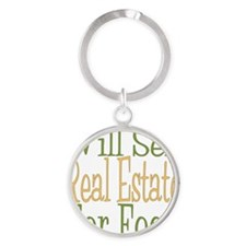 Will Sell Real Estate dark Round Keychain