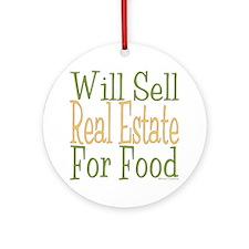 Will Sell Real Estate dark Round Ornament