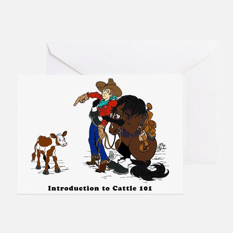Horse Intro to Cows Greeting Card