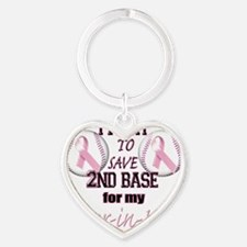 I Fight to Save 2nd Base for my Sis Heart Keychain