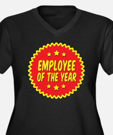 employee-of- Women's Plus Size Dark V-Neck T-Shirt