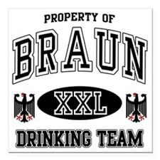 "Braun German Drinking Te Square Car Magnet 3"" x 3"""