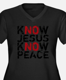 KnowJesus Women's Plus Size Dark V-Neck T-Shirt