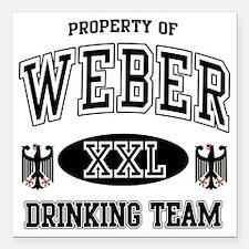 "Weber German Drinking Te Square Car Magnet 3"" x 3"""