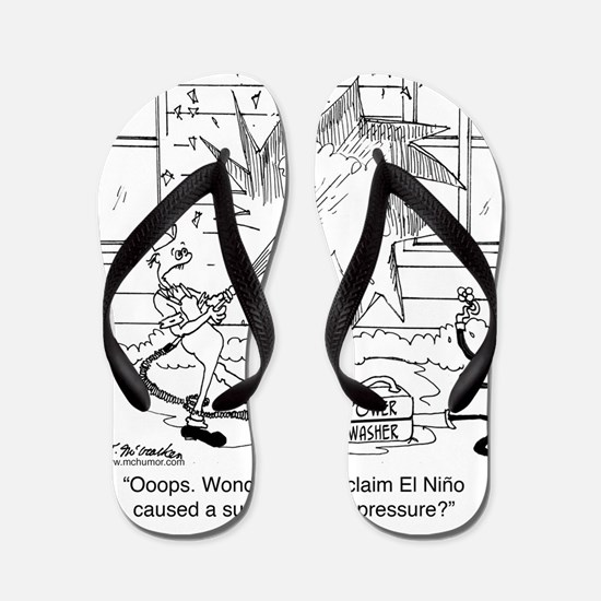6414_power_washer_cartoon Flip Flops