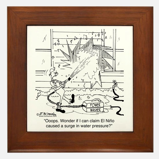 6414_power_washer_cartoon Framed Tile